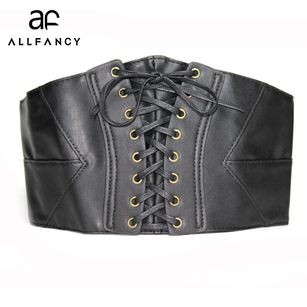 Belts for women elastic leather belt cummerbunds Europe wide band fashion black belt 17cm wide stretch decoration belt