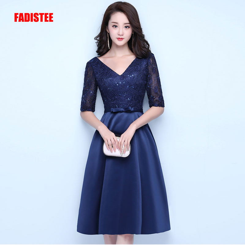 FADISTEE New Design A-line Short Dresses V-neck Cocktail Party Lace-up Dress Festa Lace Elagant Satin Half Sleeves