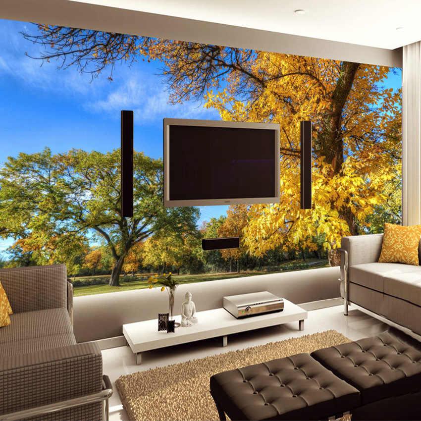 Kustom 3D Foto Wallpaper Lukisan Dinding Taman Hutan Alam Pemandangan Ruang Tamu Kamar Tidur Latar Belakang Dinding Mural Kertas De Parede