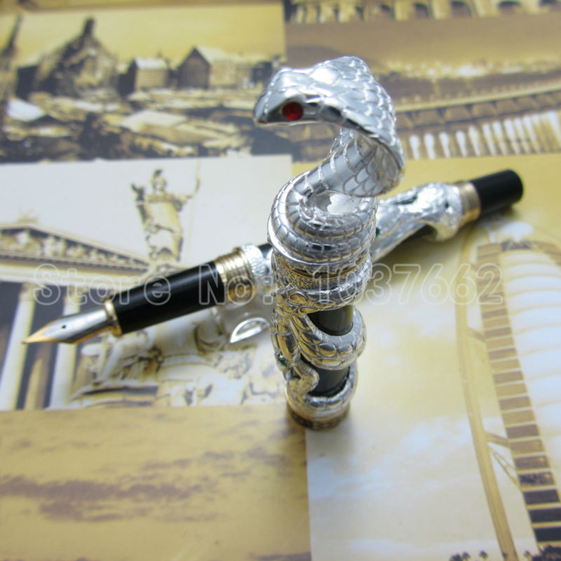 jinhao pen Silver upscale beautiful snake fountain pen nib 18KGP M Nib jinhao business gifts writing ink pen black with old grey snake wind medium 18kgp nib 3d metal fountain pen