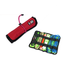 BUBM Roll Universal Pens Winder Stable Carrying Case USB Flash Drive Travel Storage Bag S Red