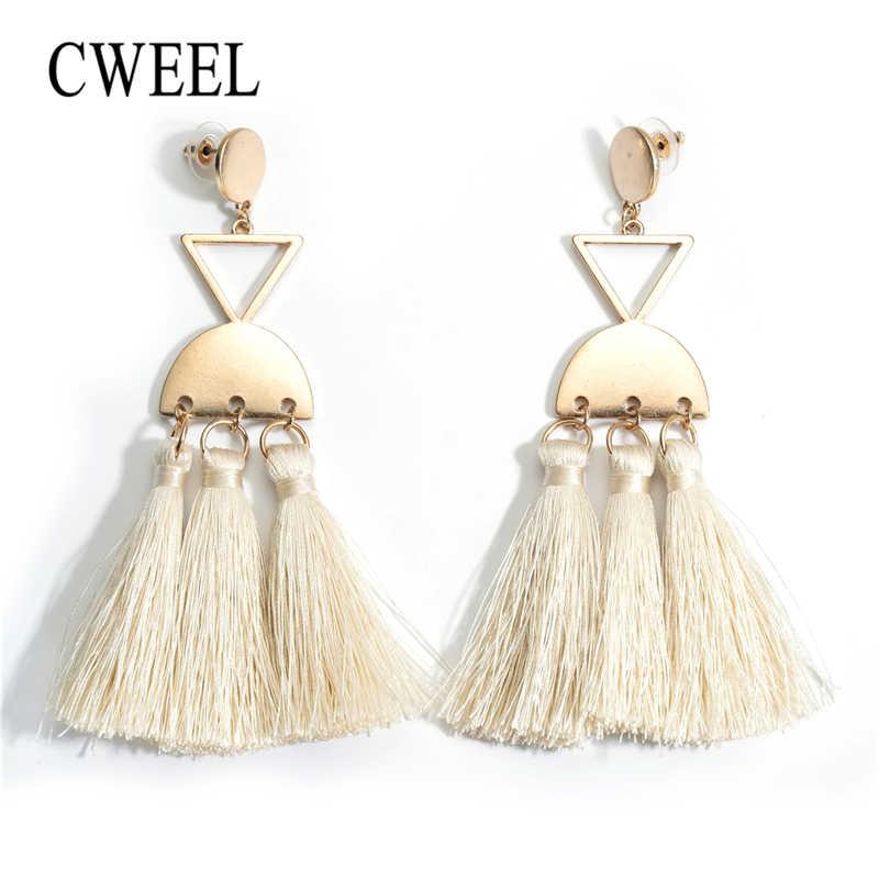 CWEEL Boho קריסטל Drop עגילי ציצית ירוק הודי אתני Danging עגילים לנשים חתונה ארוך תליית הצהרת חרישה