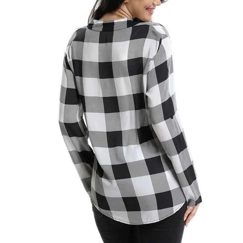 809191f4e8c09 ... Laamei Women Plaid Shirts Spring Long Sleeve Blouses Shirt Office Lady  Cotton Lace up Shirt Tunic ...