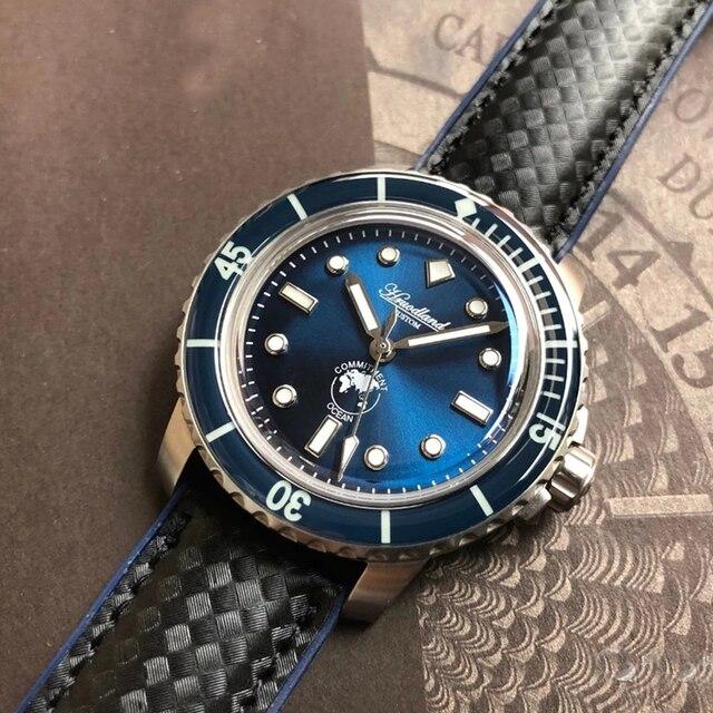 Nieuwe 5015 Heren Rvs Horloge Automatische Duikhorloge 20ATM Sapphireglass Bezel Retro San Martin Mannen Mechanische Horloge