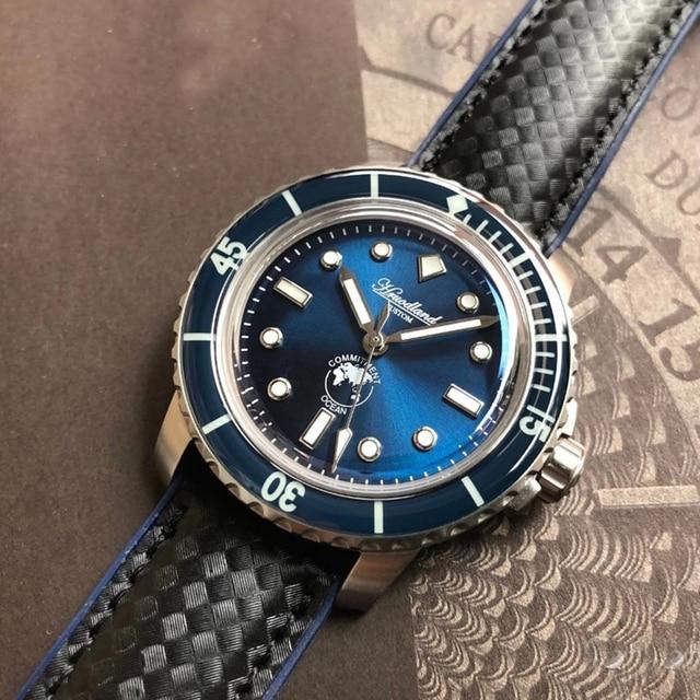 ¡Novedad de 5015! Reloj de acero inoxidable para hombre, reloj de buceo automático, reloj de pulsera mecánico Retro con bisel de cristal de 20ATM de San Martin para hombre