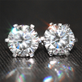 Queen Brilliance Genuine18K 750 White Gold  4 Carat ct F Color Test  Positive Lab Grown Moissanite Diamond Earrings