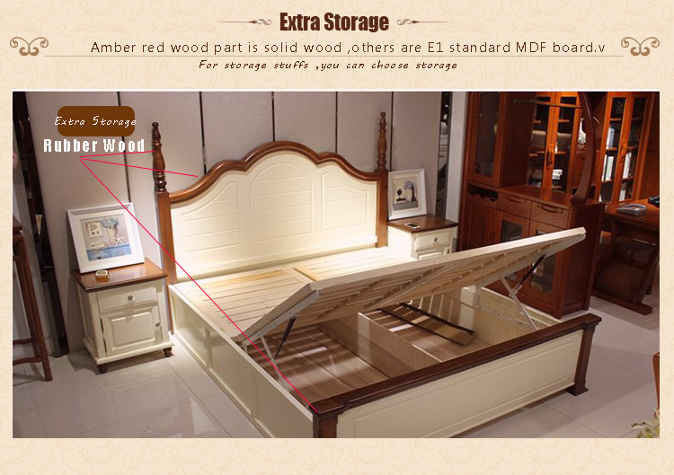 American Antique Luxury Solid Wood New Bedroom Furniture Sets