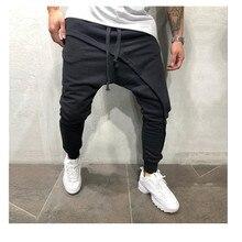 Мужские брюки-карандаш, мужские асметричные слоистые штаны для бега, уличная одежда в стиле хип-хоп, повседневные штаны для бега на завязках