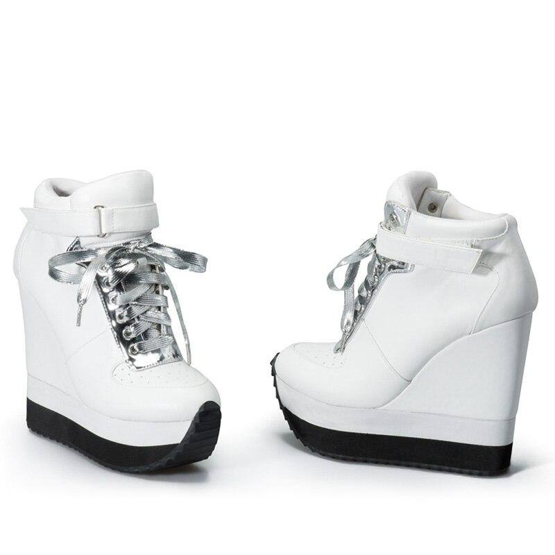 Sinsaut Casual รองเท้าผู้หญิงรองเท้าส้นสูงรองเท้า Lace Up ข้อเท้าความสูงเพิ่มผู้หญิง Wedge รองเท้าผ้าใบ Chaussure Femme-ใน รองเท้าส้นสูงสตรี จาก รองเท้า บน   3
