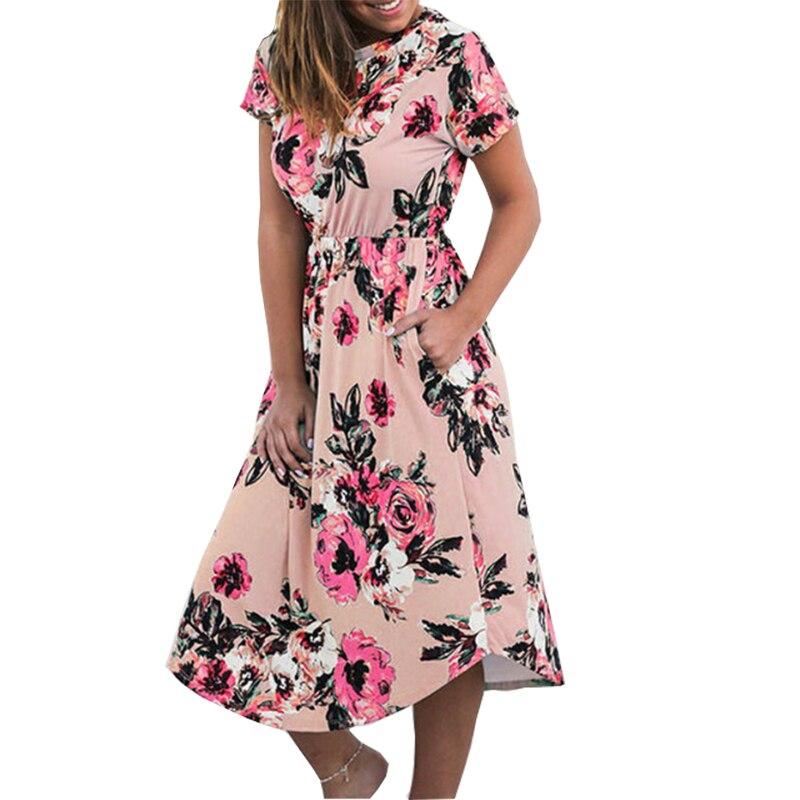 Sommer Floral Prairie Chic Kleid Casual Femme Blume Boho Druck Dreeses Tasche Kurzarm Midi Kleid Robe Sundreses GV879-B