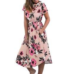 Летние цветочные прерия шик платье повседневное Femme цветок Boho печати Dreeses летняя футболка с карманом миди платье халат сарафаны GV879-B