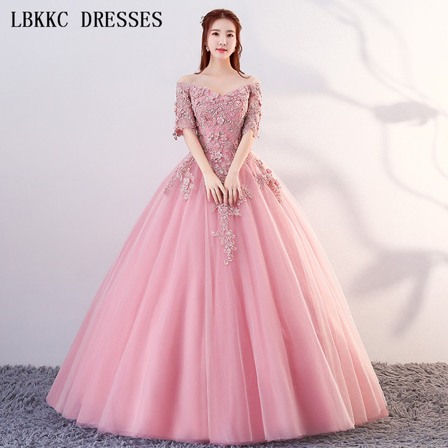 c0d8d8aae4bc Nude Pink Off The Shoulder Quinceanera Dresses Ball Gown Half Sleeve  Vestido De Debutante Vestidos De 15 Anos Sweet 16 Dresses