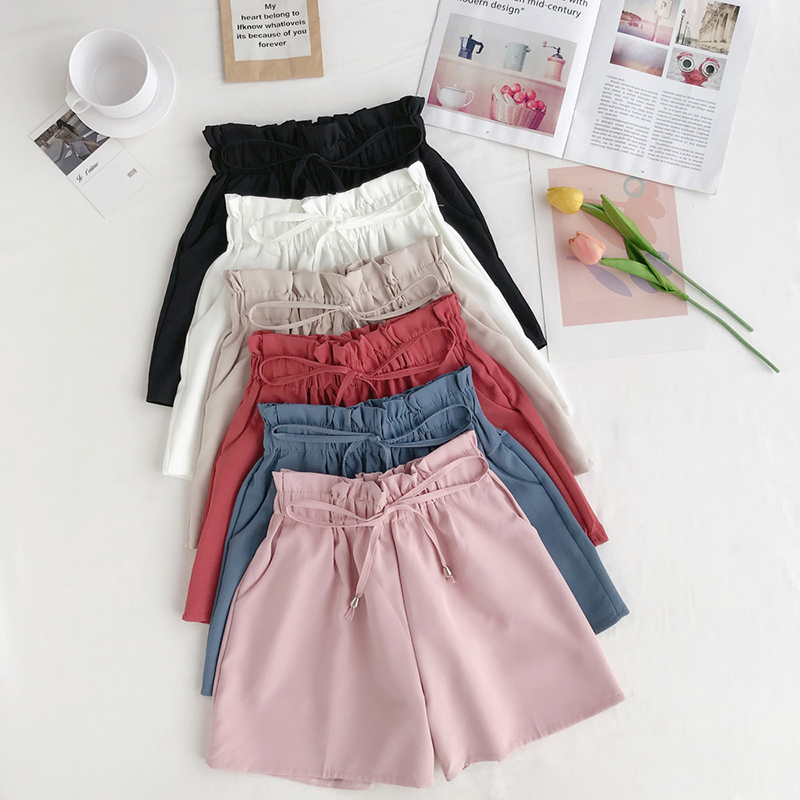 2019 New Summer Fashion Elastic Sashes High Waist Shorts Women Vintage Wide Leg Shorts Solid Thin Bow Female Shorts Korean Style