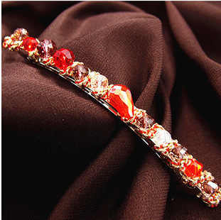 iMucci 1PC Women Girls Elegant Bling Headwear Crystal  6 Color Elastic Hairpin Barrette Hair Clip