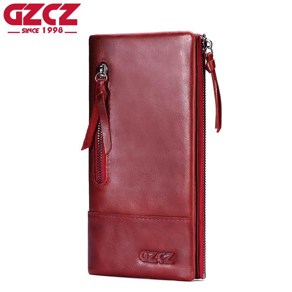 GZCZ Genuine Leather Long Wallets Female Card Holder Ladies Walet Portomonee Clutch Handy Woman Vallet Large Capacity Super Thin