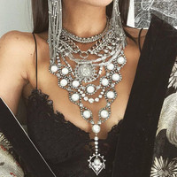 Mamojko Bohemian Exaggerated Pearl Pendant Multilayer Necklaces For Women Fashion Charm Collar Statement Necklace Jewelry