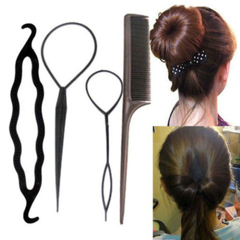 4Pcs/Set Black Plastic DIY Styling Tools Pull Hair Clips For Women Hairpins Comb Hair Bun Maker Dount Twist Hair Accessories
