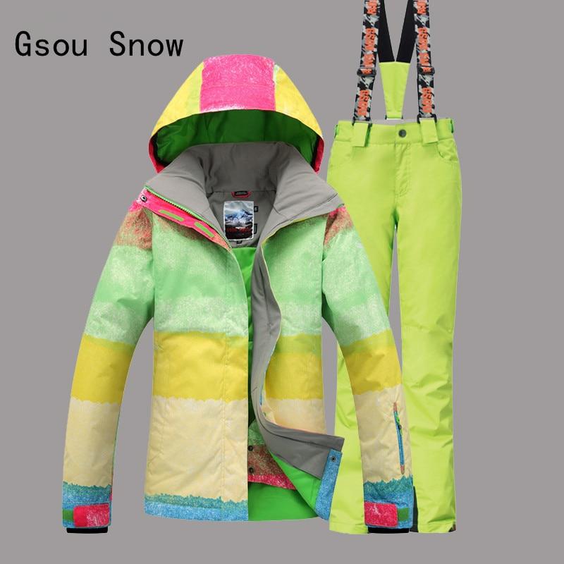 Prix pour Femelle Ski Costume Gsou Neige Bande Coupe-Vent Imperméable À L'eau En Plein Air Sport Wear Vêtements D'hiver Épaissir Thermique Super Chaud Veste + Pantalon