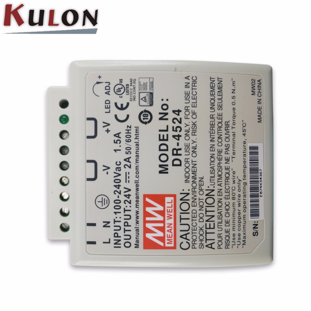 цена на Original MEAN WELL DR-4524 Single Output 2A 24V 48W DIN rail mounted Meanwell power supply DR-45
