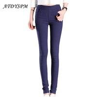 2016 New High Elastic Waist Women Slim Pencil Pants Leggings Ladies Skinny Candy Color OL Female