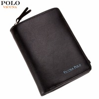 VICUNA POLO Luxury Genuine Leather Men Wallet With Zipper Coin Pocket Brand Casual Business Short Genuine