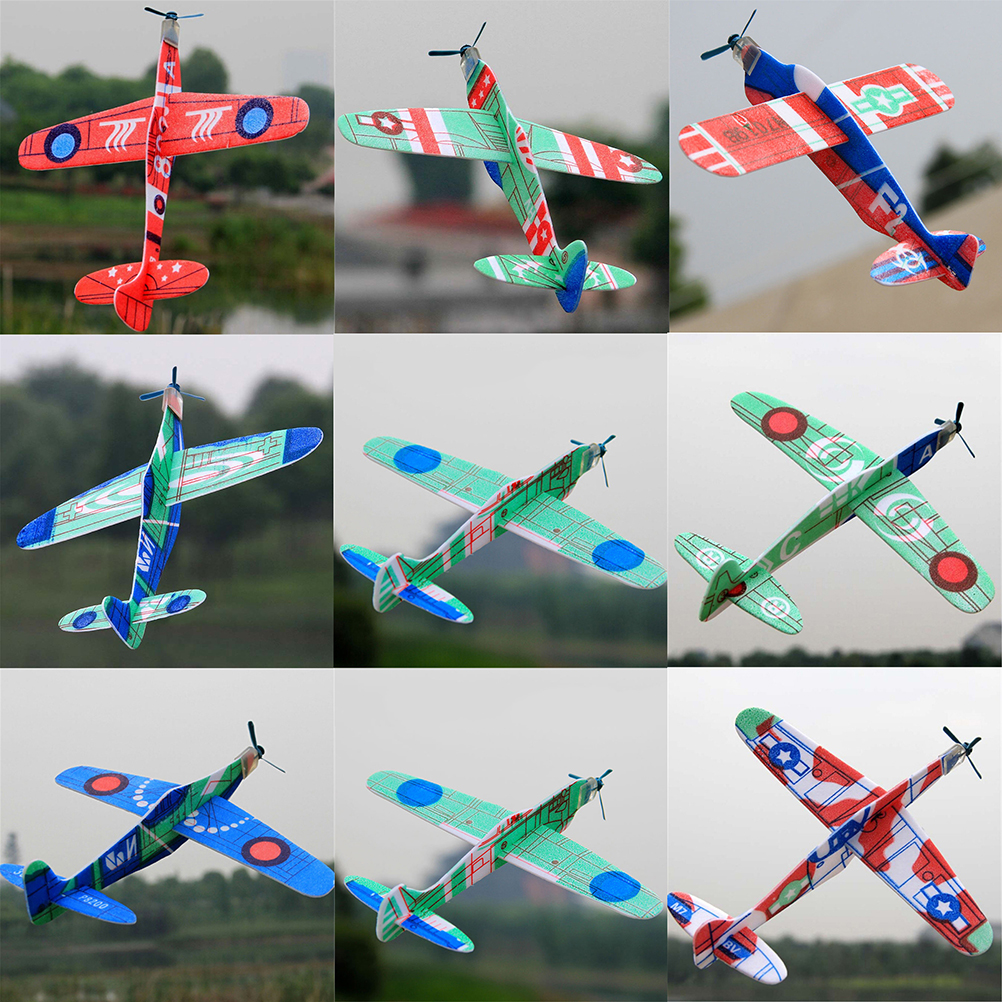 19cm Hand Throw Flying Glider Planes EPP Foam Airplane Party Bag Fillers For Kids Mini Drone Aircraft Model Toys Random Color