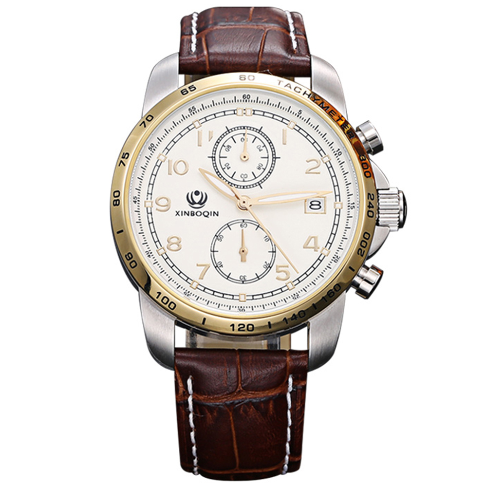 men watch  luxury brand wrist watches business Water Resistant Luminous Hands Complete Calendar Leather gifts for men 3036