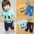 2016 Summer Baby Kids Boys Girls Short Donald Duck Outfits Set 2pcs Clothes 1-6Y Children's Clothing Sports Suit Tracksuit Sets