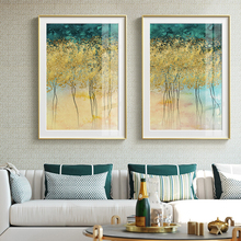 Golden Tree Green Plant Painting Nordic Style Poster and Print Wall Art Canvas Picture For Living Room Aisle Abstract Home Decor