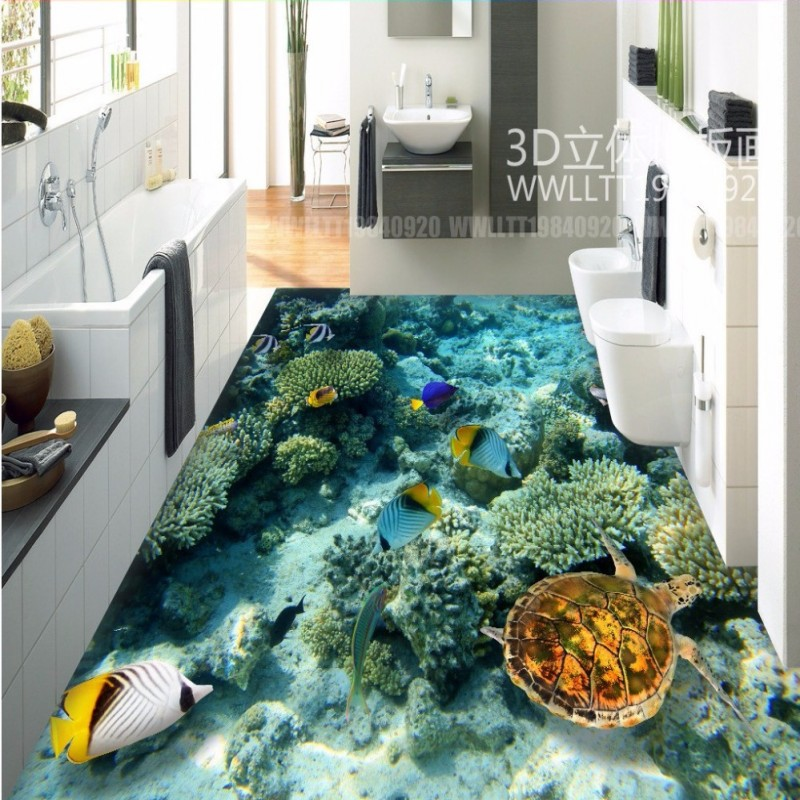 Free Shipping Underwater World Coral tortoise 3D floor painting self-adhesive wear non-slip living room flooring wallpaper mural free shipping marble texture parquet flooring 3d floor home decoration self adhesive mural baby room bedroom wallpaper mural