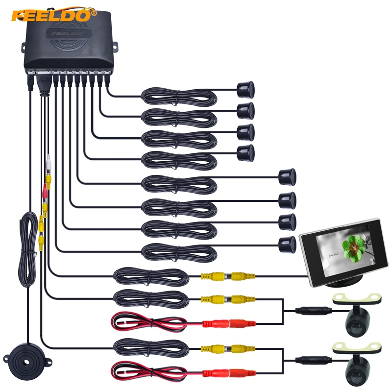 FEELDO 1Set Car 8 Sensors/16.5mm Camera/Monitor Front&Rear Dual View Parking Sensor Backup Radar System #FD-4453 цена