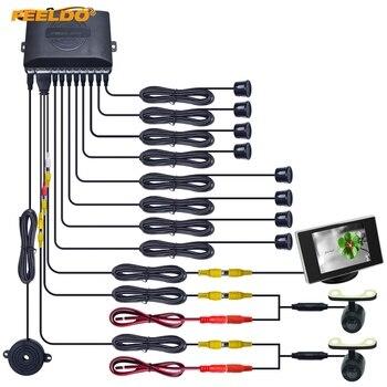 FEELDO 1Set Car 8 Sensors/16.5mm Camera/Monitor Front&Rear Dual View Parking Sensor Backup Radar System #FD-4453