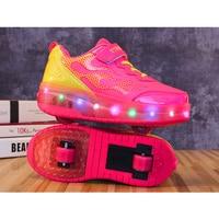 EUR Size 28 42 Children Tenis LED Sneakers Double Wheels Flame Buty Led Luminous Boys Girls