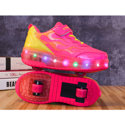 EUR Size 28-42// Children Tenis LED Sneakers Double Wheels Flame Buty Led Luminous Boys Girls Toddler Roller Glowing Sneakers