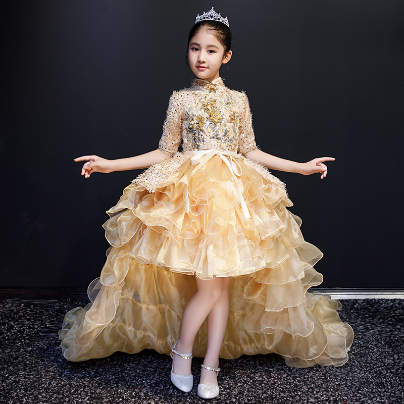 Appliques de luxe robes de demoiselle d'honneur robes de soirée de mariage paillettes enfant robe de reconstitution historique fête d'anniversaire longue robe de princesse