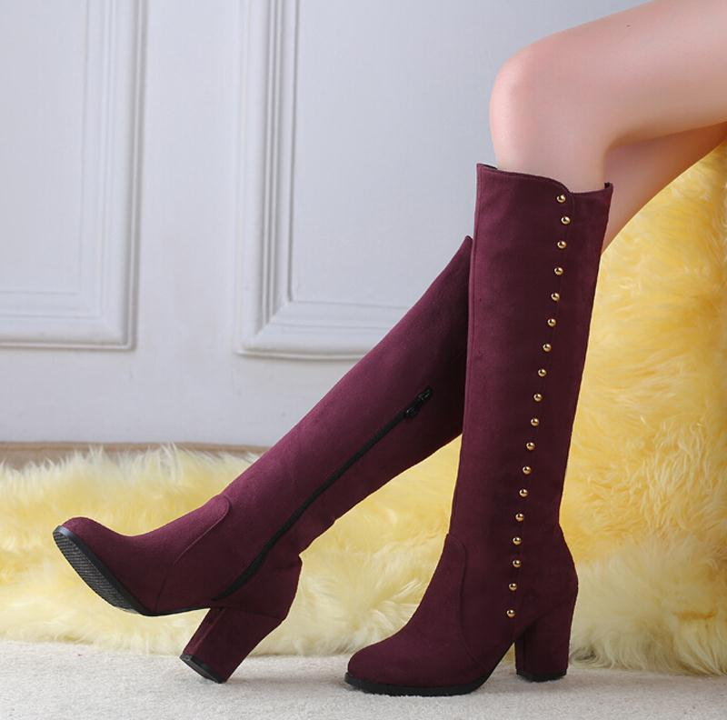 New Leisure Style Winter boots  Arrivals Women Rivet Snow Boots Fashion Low Knee High Long Slip-On Warm Knight boots women winter coat leisure big yards hooded fur collar jacket thick warm cotton parkas new style female students overcoat ok238
