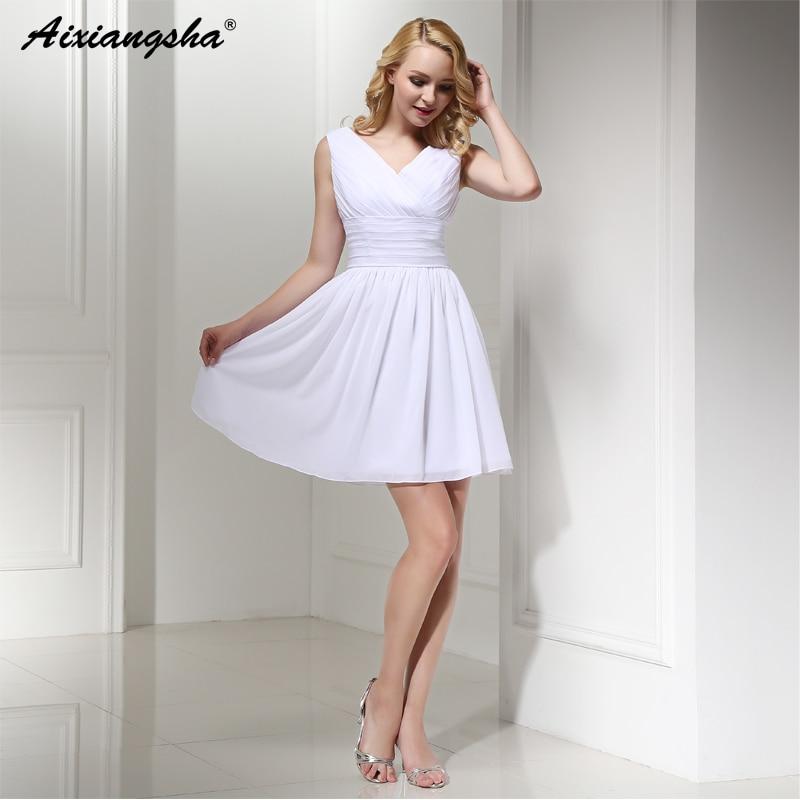 Dress Bride White Ivory Chiffon Zipper Back 2017 Greek Style Vestidos Wedding Dress Sleeveless Mini Sexy Wedding Dress