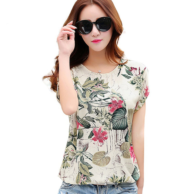 a7d5ac43d1f5b Cotton Linen Summer Blouses Shirts Women Top Loose Blusa Mujer Vetement  Femme 2018 Fashion Short Sleeve Print Blouse Tops