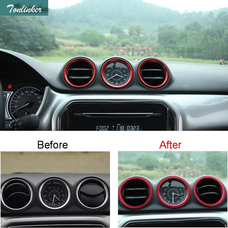 Tonlinker Cover Case Stickers for SUZUKI vitara 2016 Car Styling 1 PCS stainless steel dashboard outlet decoration cover sticker