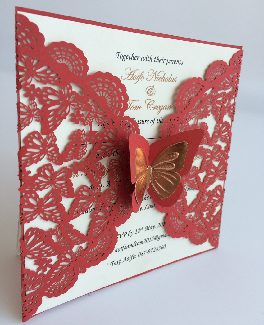 Red Wedding Invitation Cards, Laser Cut Paper Wedding Invitations ...
