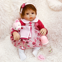 20inch Reborn silicone vinyl Dolls Lifelike Baby Newborn pink clothes modeling princess bedtime birthday presents for sale toy
