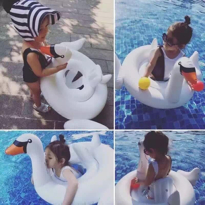 Smartlife Summer Baby White Swan Swimming Ring Inflatable Swan Swim Float Water Fun Pool Toys Swim Ring Seat Baby Kid Chair