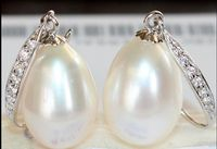 hot sell new 1pair of 100% natural AAA+ 11 13MM Australian south seas white pearl earrings