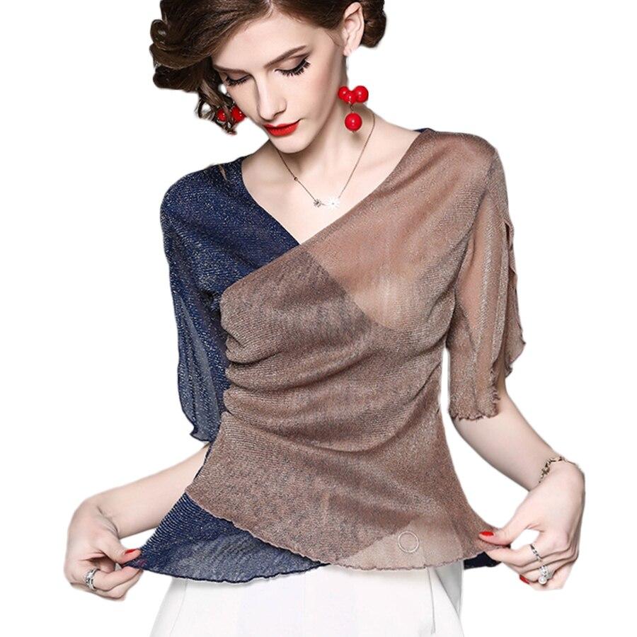 Épissé Slim chemise femmes été Wrap Bling élégant blouse décontractée grande taille Transparent femmes hauts et chemisiers Vintage Top D202E