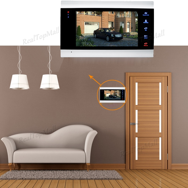 7 Inch Video Door Phone Monitor Intercom System/Kit Doorbell Camera Night Vision 1200 TVL Recording SD Card Support