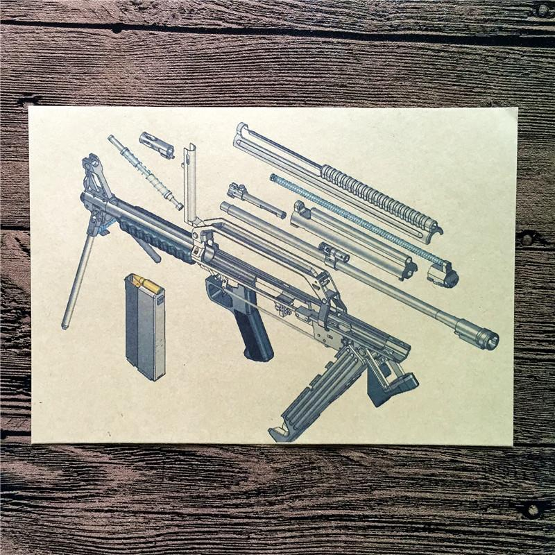 RMG-003 Vintage back to the future kraft paper Gun exploded view wallpaper art poster pictures home decor for bathroom 42x30cm