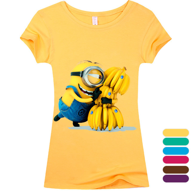 (Harajuku T Shirt)2016 Sexy cute Womens Lycra Tee T Shirt Ladies Minion Slim Summer 3d kawaii Women T-Shirts Minions Cartoon Top