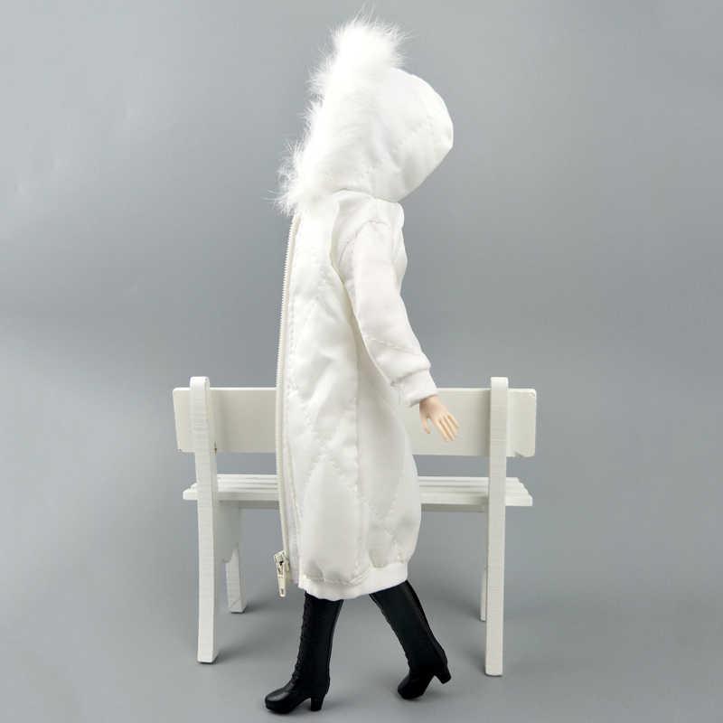 白冬服ロングコートバービー人形の服ドレスのため 1/6 BJD 人形ジャケット 1:6 人形アクセサリー子供おもちゃ