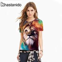 Khastanido 2017 الأزياء الأسد رئيس 3d مطبوعة تي النساء o قمصان قصيرة الأكمام الصيف الأعلى الشرير تي شيرت زوجين الملابس الطائر