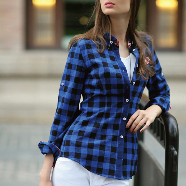 9ca8f9d67 New Arrival Female Long Sleeve Button Down Fitted Checkered Plaid Shirt  Women Camisas de Flanela 2015